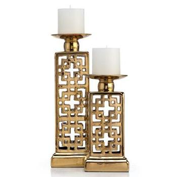 Ming Pillar Candle Holder, Gold Metallic Asian Candle Holder