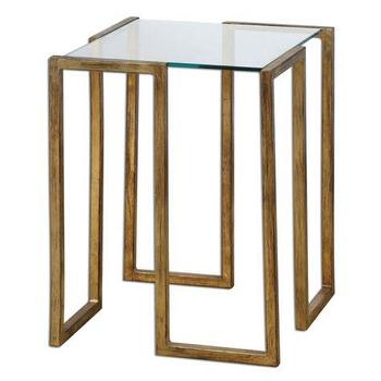 Porto Antiqued Gold Leaf Accent Table, Glass Top Table