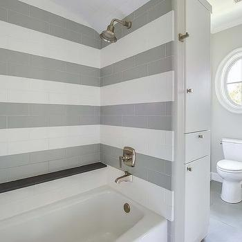 Shower with Striped Tiles