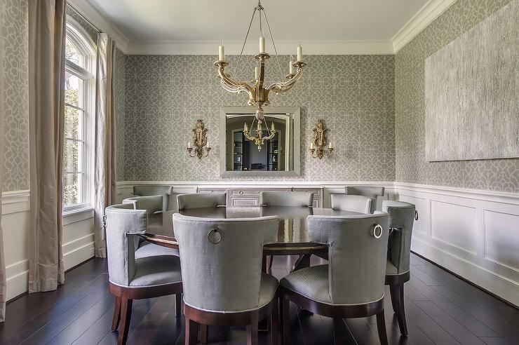 Gray Dining Room With Wainscoting View Full SizeRound Dining Table Seats 8  Transitional Dining Room Benjamin