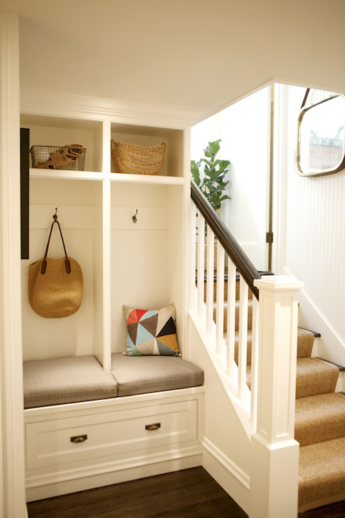 mudroom lockers beadboard trim design ideas