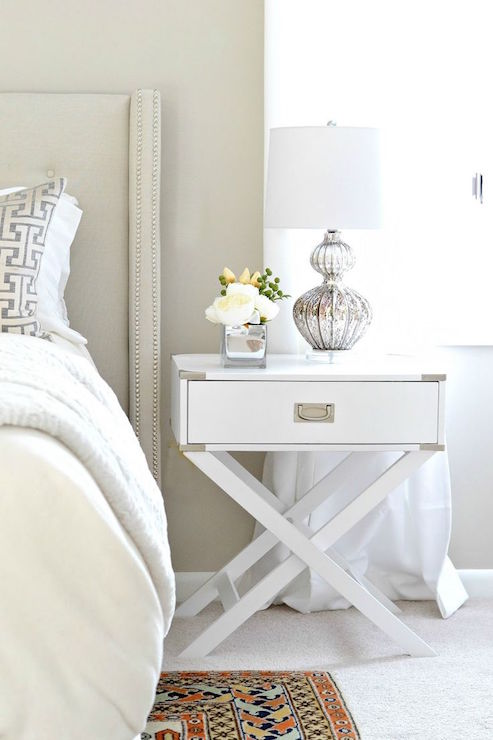 White And Beige Bedroom Features Walls Painted The Perfect Shade Of Beige, Behr  Wheat Bread, Lined With A Beige Wingback Headboard Accented With Silver ...