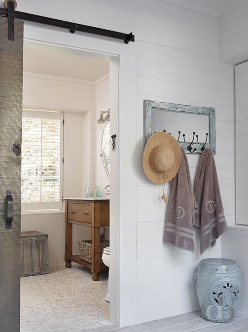 Cottage Bathroom With Barn Door