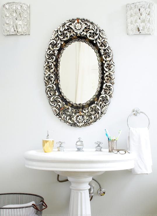 Glam Powder Room With Antique Oval Mirror Transitional Bathroom