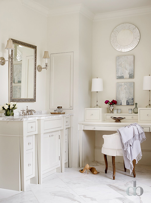 Bathroom Candle Sconces master bathroom with built in makeup table - cottage - bathroom