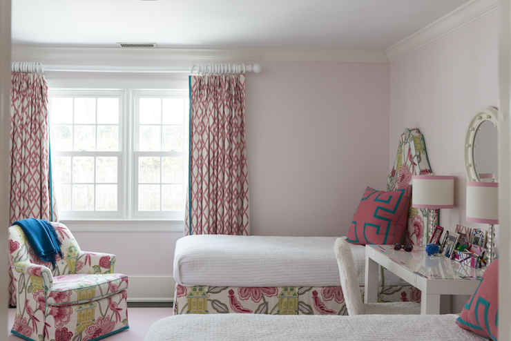 Curtains Ideas chinoiserie curtains : Kids Room with Desk as Nightstand - Contemporary - Girl's Room