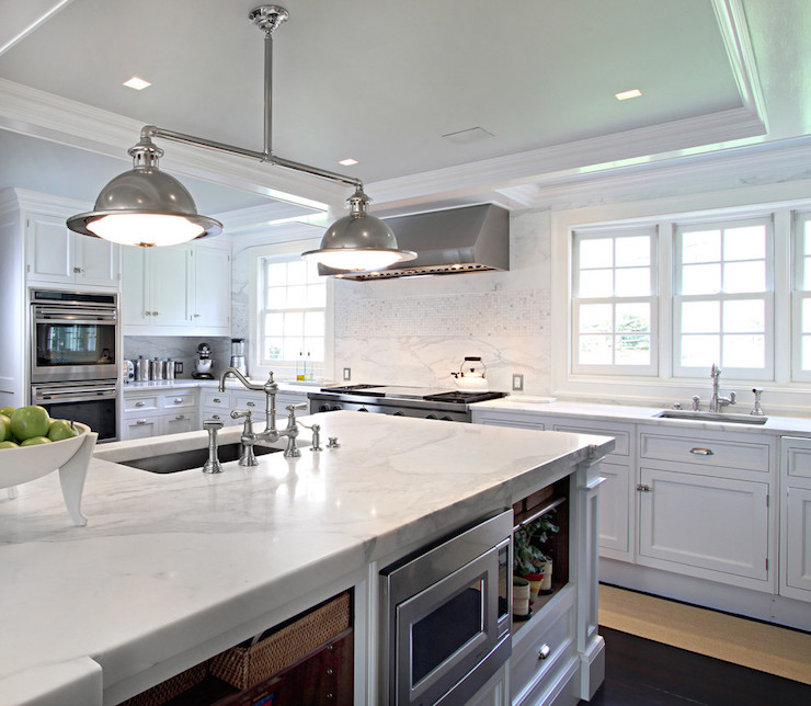 Main sink in kitchen island transitional kitchen - Kitchen island with cooktop and prep sink ...