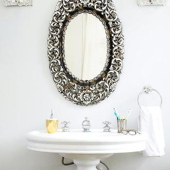 Glam Powder Room with Antique Oval Mirror, Transitional, Bathroom