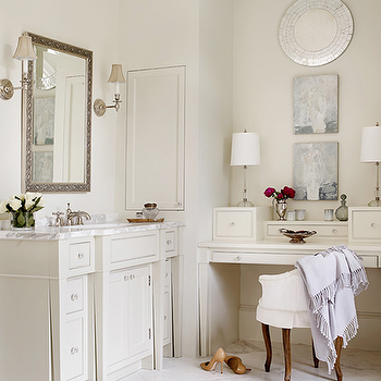 Master Bathroom with Built In Make Up Table, Cottage, Bathroom