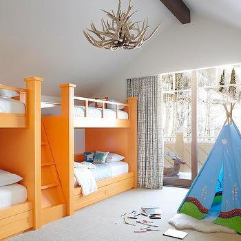 Boys Room with Orange Bunk Beds, Contemporary, Boy's Room