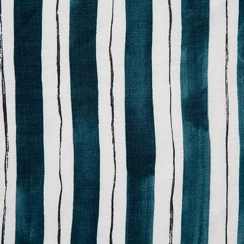 Marine and Black Painted Stripe Fabric