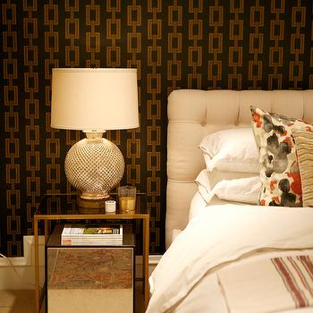 Metallic Gold and Navy Chain Link Wallpaper, Contemporary, Bedroom