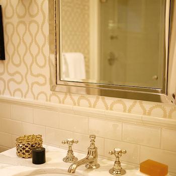 Bathroom with Ivory Subway Tiles, Transitional, Bathroom