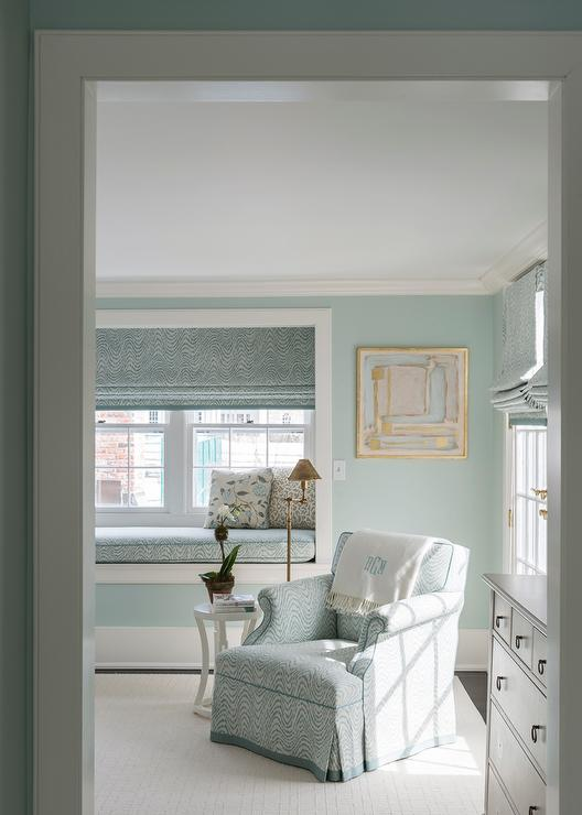 master bedroom with built in window seat nook - transitional