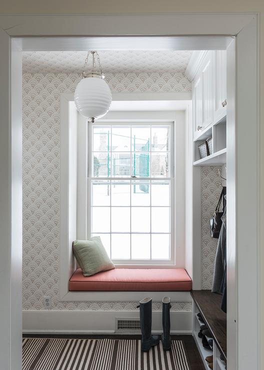 Mudroom With Built In Window Seat Transitional Laundry