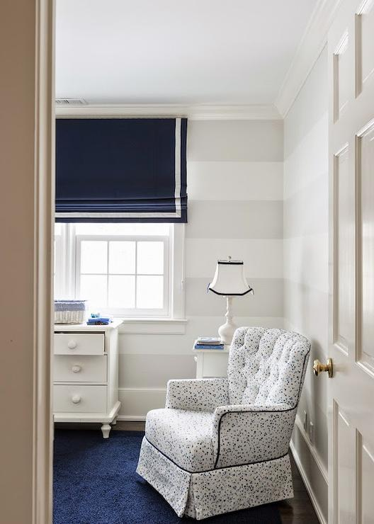 Nursery With White And Gray Stripe Walls Transitional