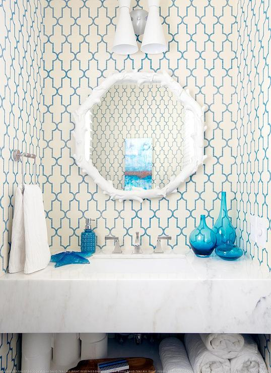 Powder Room With Turquoise Accents Cottage Bathroom