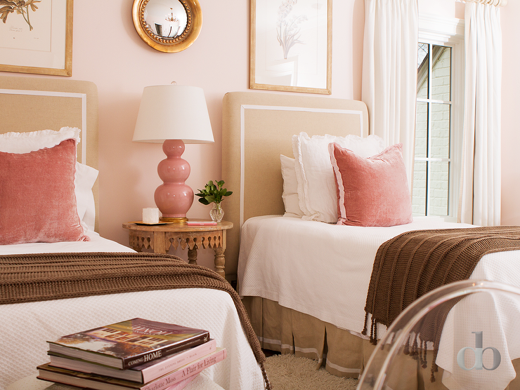 pink beige carpet and headboard skirt green beige walls blush pink headboard with white and gray bedding 738
