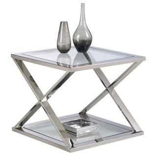 Sunpan Gotham Polished X Shaped Stainless Steel Silver End Table