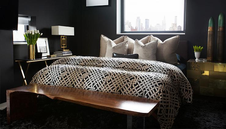 Black bedrooms with gold accents contemporary bedroom - Black white and gold bedroom ...