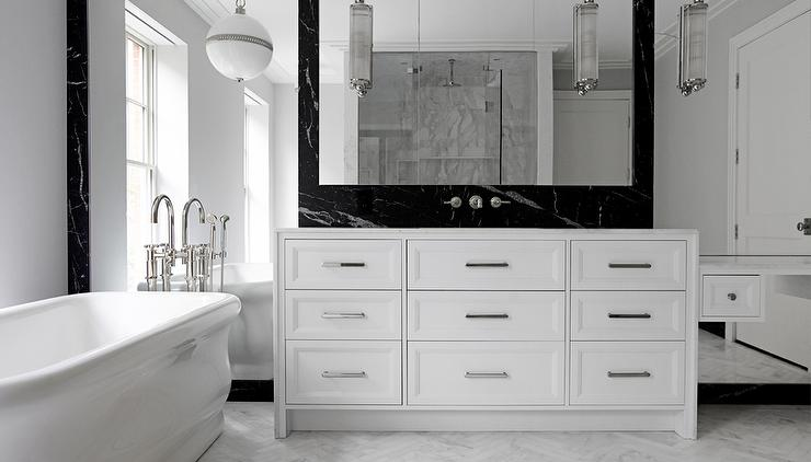 White Bathroom With Black Marble Backsplash Modern