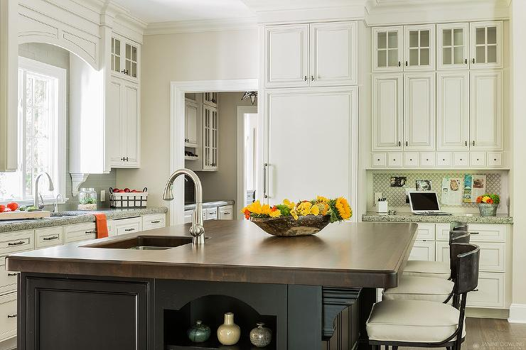 Gray Kitchen Island With Butcher Block : Black Kitchen Island with Butcher Block Top - Transitional - Kitchen
