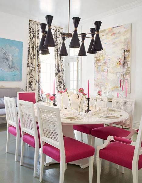 Lovely White Oval Dining Table With Hot Pink Dining Chairs