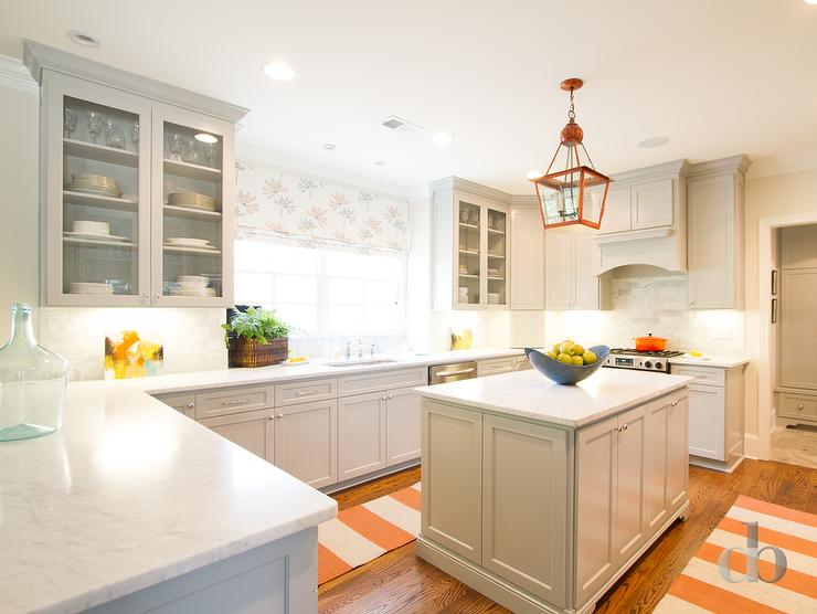 White Kitchen Orange Accents gray kitchen with orange accents - contemporary - kitchen