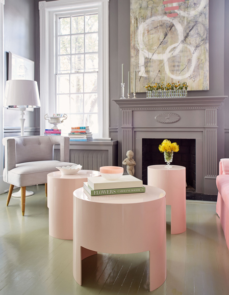 gray and pink living rooms round pink lacquer coffee tables gray
