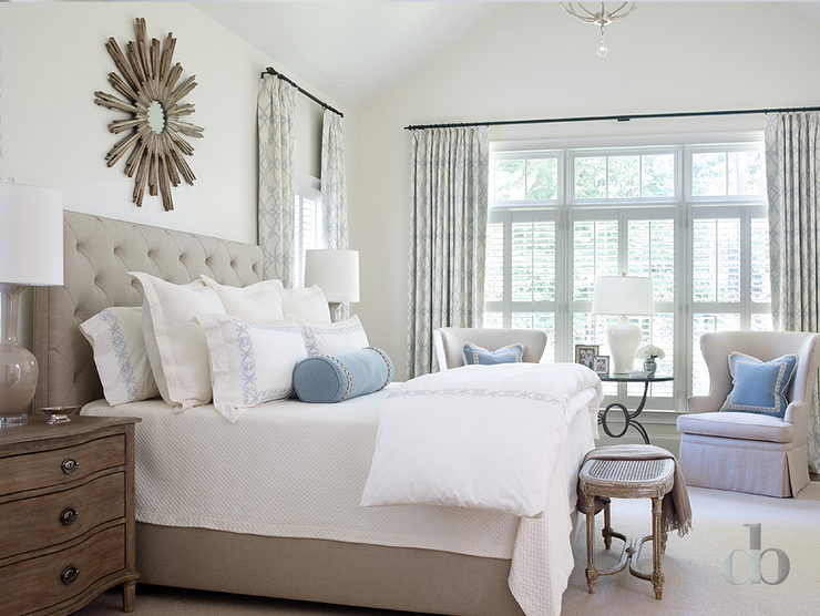 Gray bedroom with blue accents transitional bedroom for Blue and taupe bedroom ideas