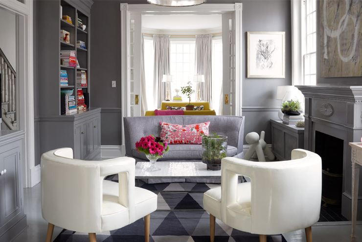 Gray Walls With Gray Chair Rail Contemporary Living Room