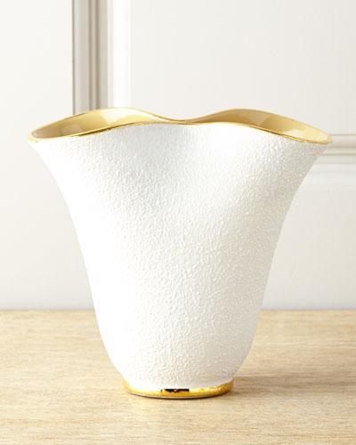 Low Tulip White Vase