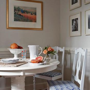 Gray Walls with White Chair Rail, Cottage, Dining Room