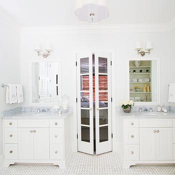 Master Bathroom with Glass Bi Fold Doors, Transitional, Bathroom
