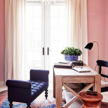 Office with Pink Walls, Transitional, Den/library/office