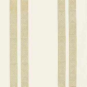 Schumacher Greek Key Stripe Tan Wallpaper