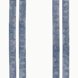 Schumacher Greek Key Stripe Navy Wallpaper