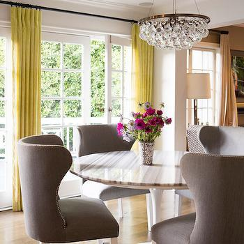 Yellow and Gray Dining Room Design, Contemporary, Dining Room