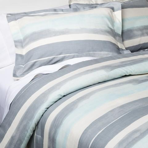 Nate Berkus Watercolor Gray Stripe Comforter Set