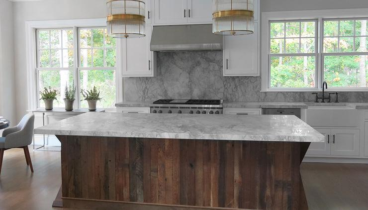 Kitchen with Salvaged Wood Island - Contemporary - Kitchen
