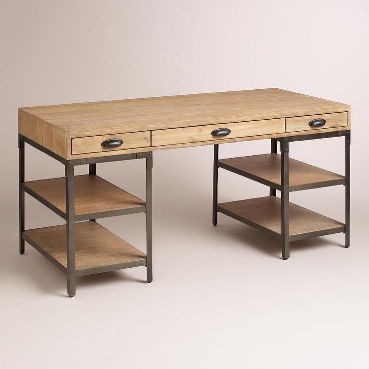 Wood and metal teagan natural desk for Metal desk with wood top