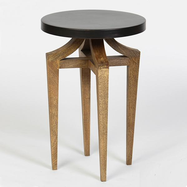 Round metal top black accent table for Black round end table