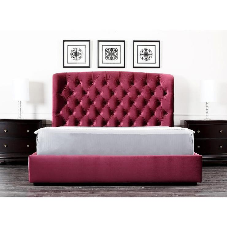 living presidio burgundy tufted upholstered bed, Headboard designs