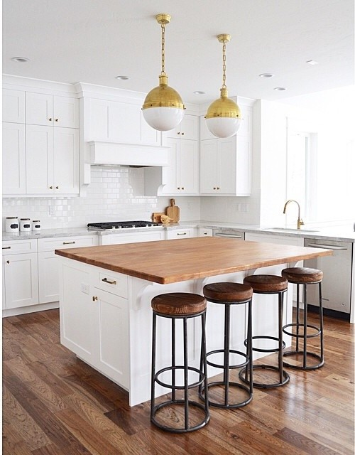 White Kitchen Island with Butcher Block Top - Transitional - Kitchen