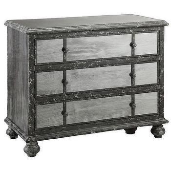 Freemark Antique Black and Mirrored Three-drawer Chest