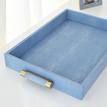 Blue Shagreen and Brass Tray