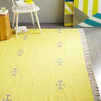 Steven Alan Arrowhead Cotton Kilim Rug in Sun Yellow