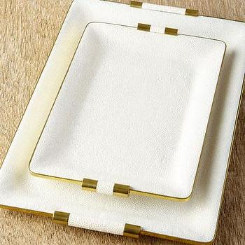White Shagreen Desk Trays