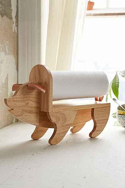 Wood Pig Kitchen Tissue Holder
