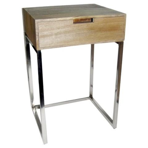 Threshold Silver Metal Accent Brown Table with Wood Top